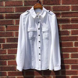 Burberry Brit White Button Down Snap Button Shirt